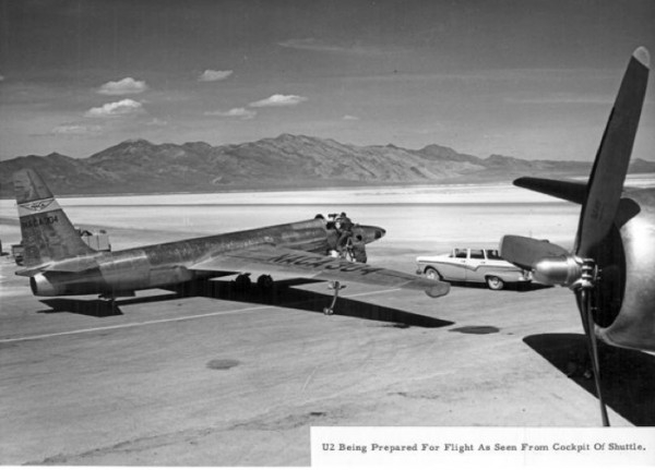 Ready to go, a U2 seen from a USAF transport plane at Area 51, 1957